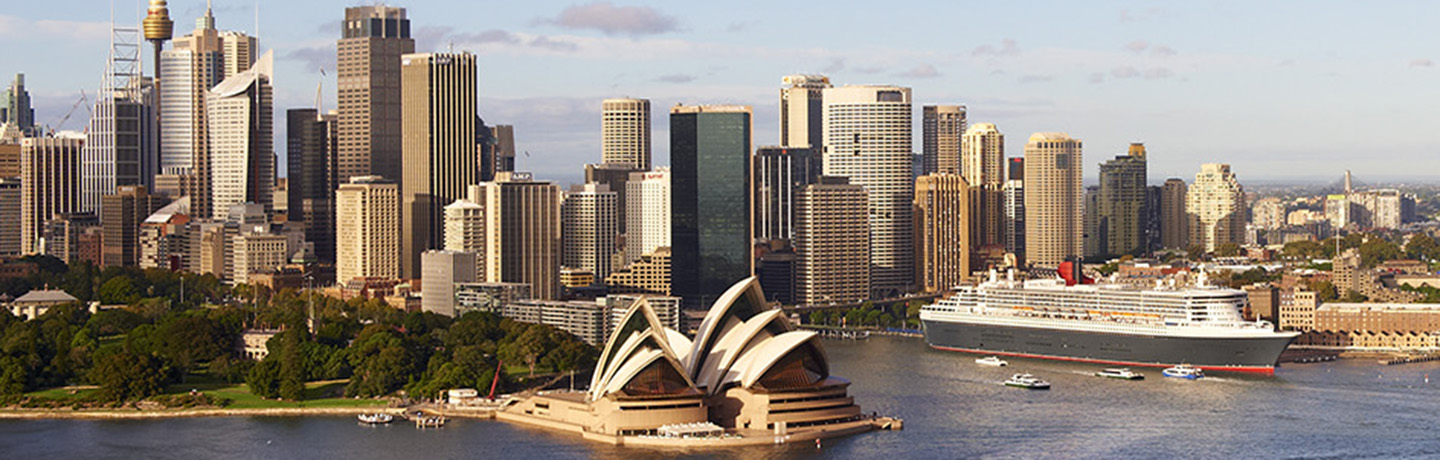 Aerial shot of Sydney Harbour with the Opera house, OPT and the city skyline in full view