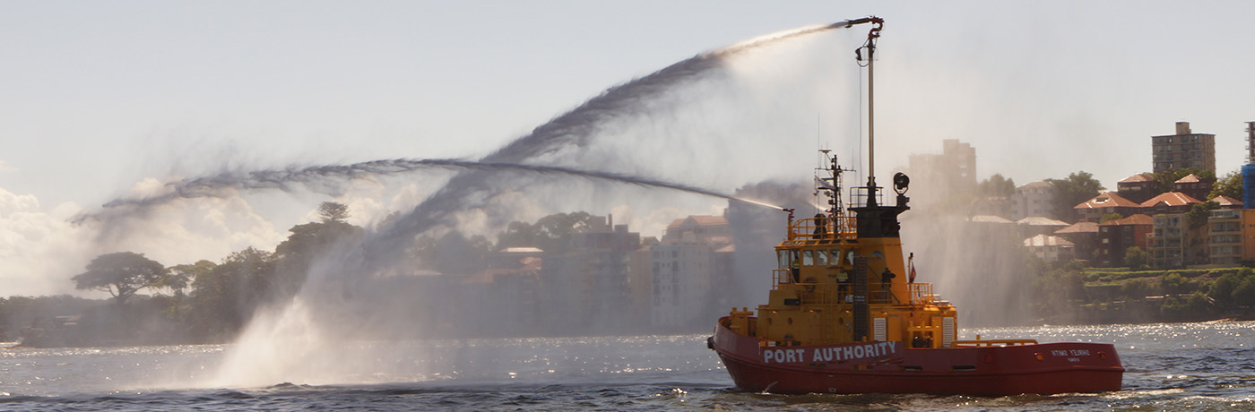 Shirley Smith (tug vessel) demonstrating water display on Sydney Harbour