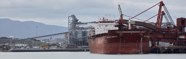 A vessel berthed at port in Port Kembla