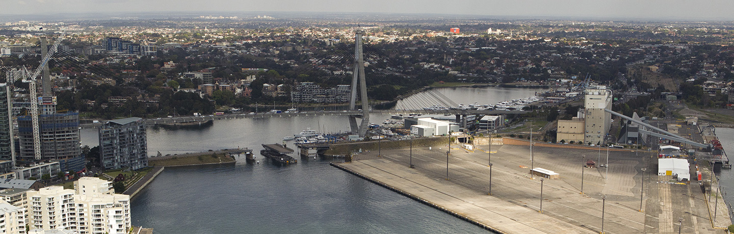 Aerial shot of White Bay and Glebe Island with ANZAC bridge
