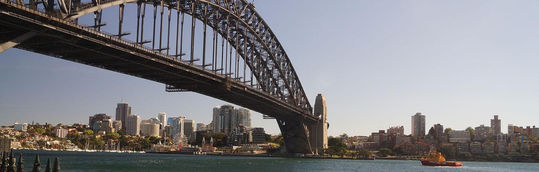 Sydney Harbour bridge and Port Authority vessel about to go under the bridge