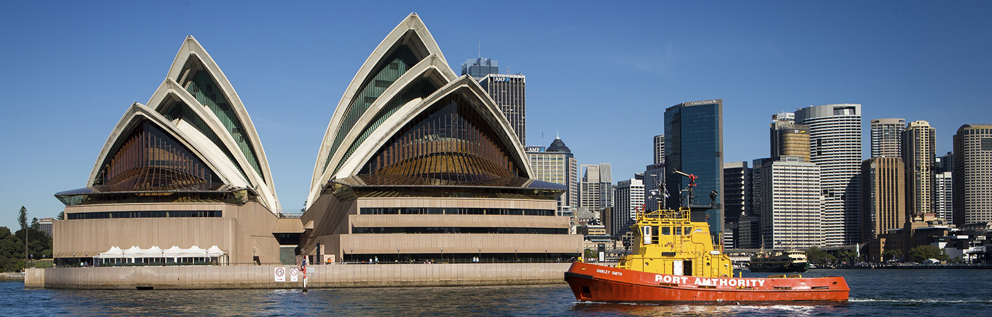 Port Authority vessel on the water in front of the Sydney Opera House