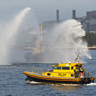 Port Kembla pilot and tug vessel at leaving port