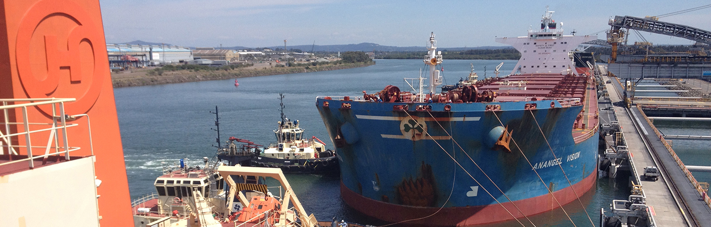 Aerial shot of a ship berthed at Newcastle