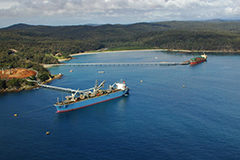 Aerial shot of berths at Port of Eden with two vessels occupying the two berths