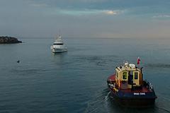 Pilot vessel leaving Port of Eden