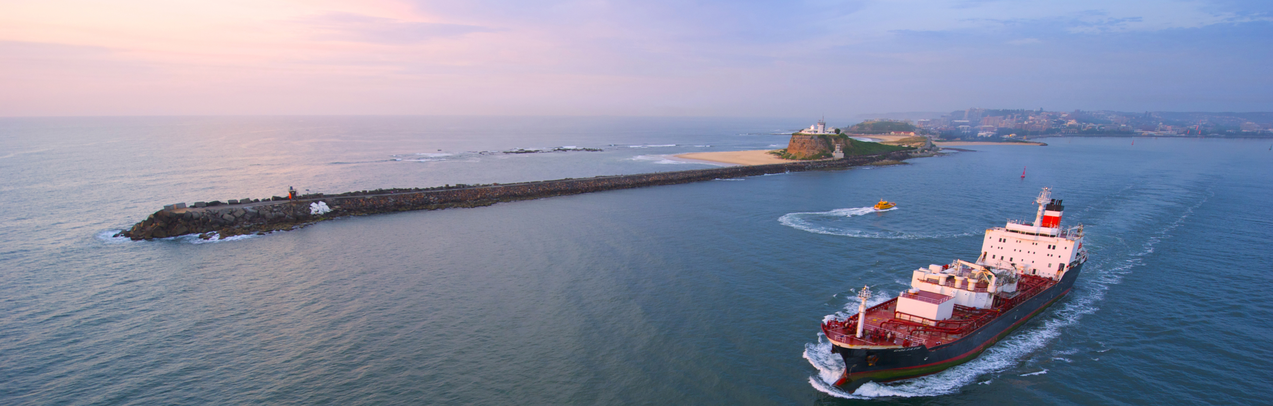Aerial shot of vessel leaving Newcastle