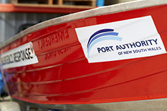 Port Authority logo on an emergency response vessel
