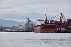 A vessel berthed at port in Port Kembla