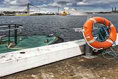 Life preserver on shore with the ANZAC bridge in the background