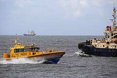 Newcastle pilot vessel out at sea