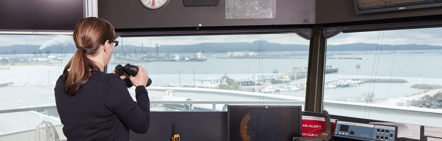 Vessel traffic officers looking out onto Port Kembla