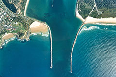 Aerial shot of Port of Yamba