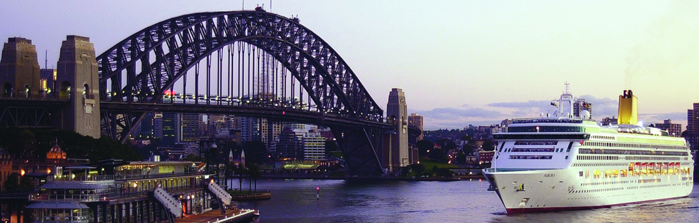 Cruise ship arriving at the Overseas Passenger Terminal with Harbour bridge in view