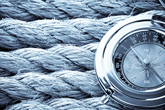 Nautical ropes and compass