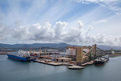 Aerial shot of berths at Port Kembla