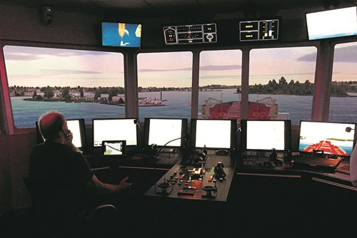 Marine pilot takes control of the simulator