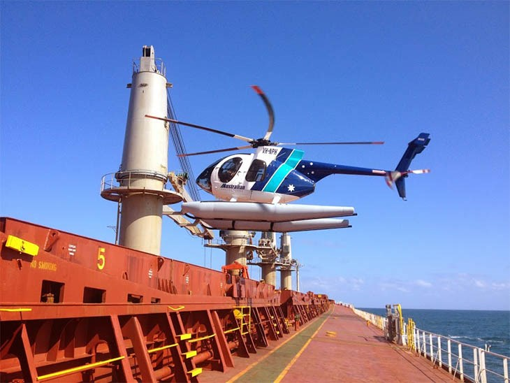 Pilot transfer by helicopter, Newcastle Harbour
